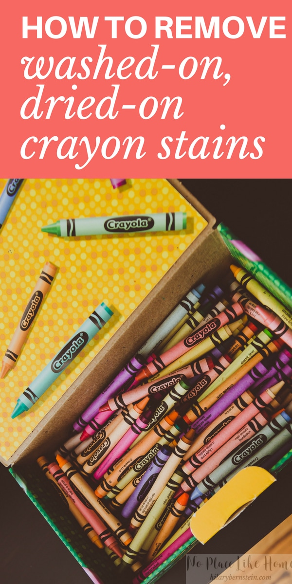 If you've discovered you've washed and dried your laundry with a crayon, here's a simple, stress-free way to remove washed on, dried on crayon stains!