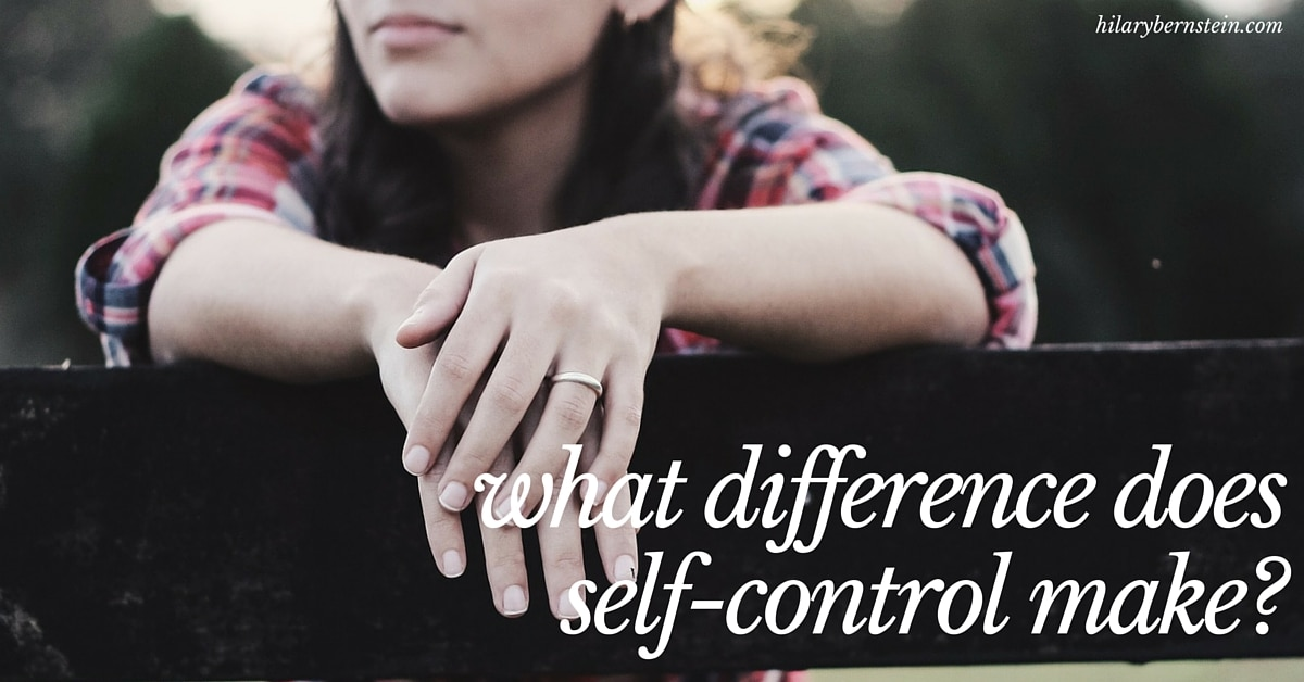 Have you ever stopped to think about what difference self-control can make in your life?