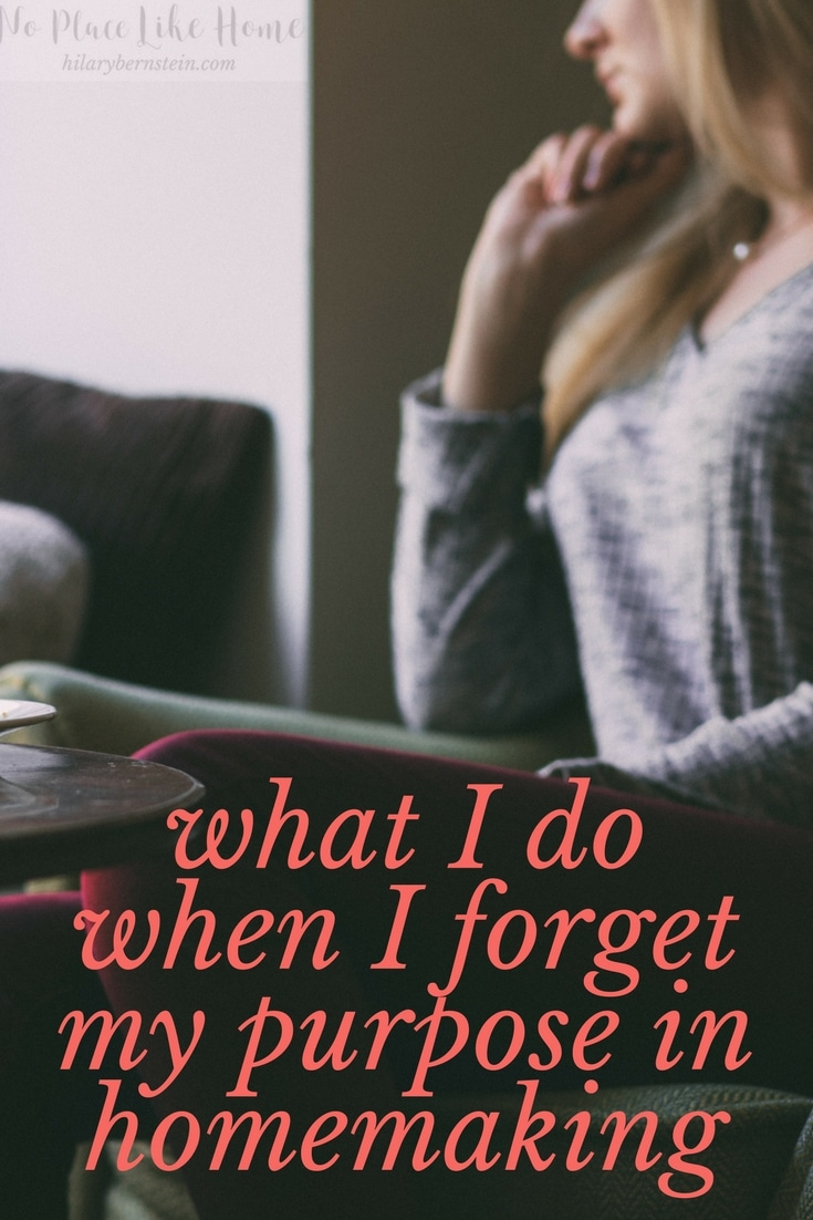 Wish you could remember your purpose in homemaking? When I forget my purpose in homemaking, I've found it's not so hard to rediscover!