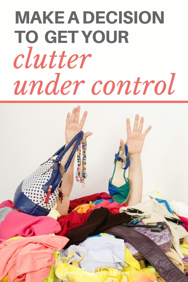 Person is covered by a pile of clothing clutter