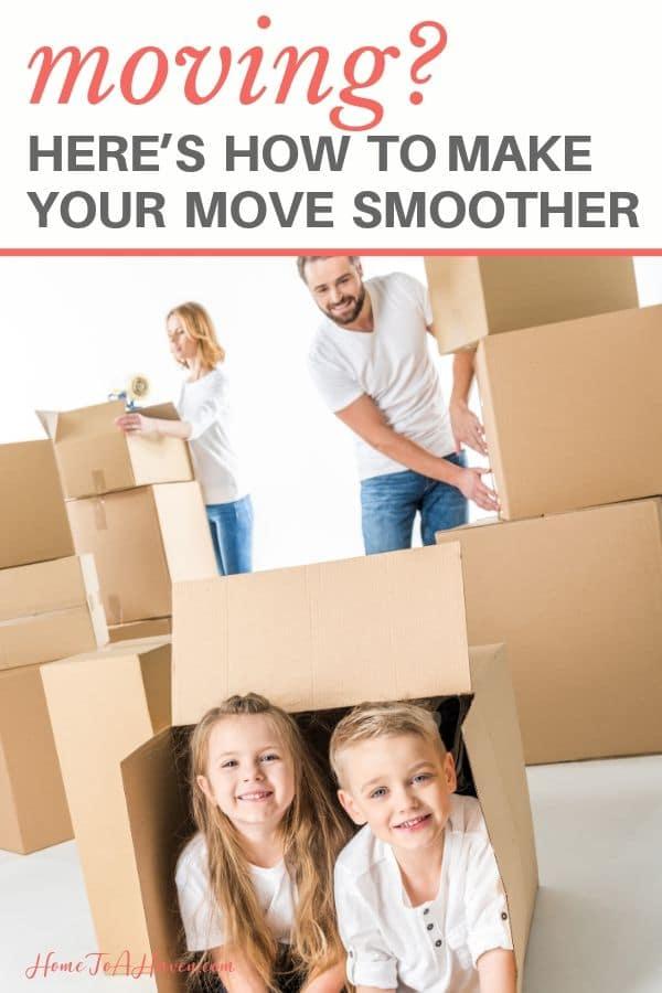 Family unpacks moving boxes