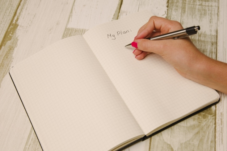 Woman writes in a blank journal