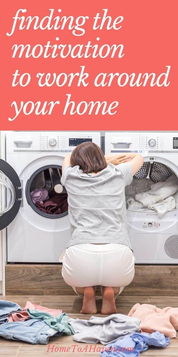 Woman kneels beside piles of clean laundry