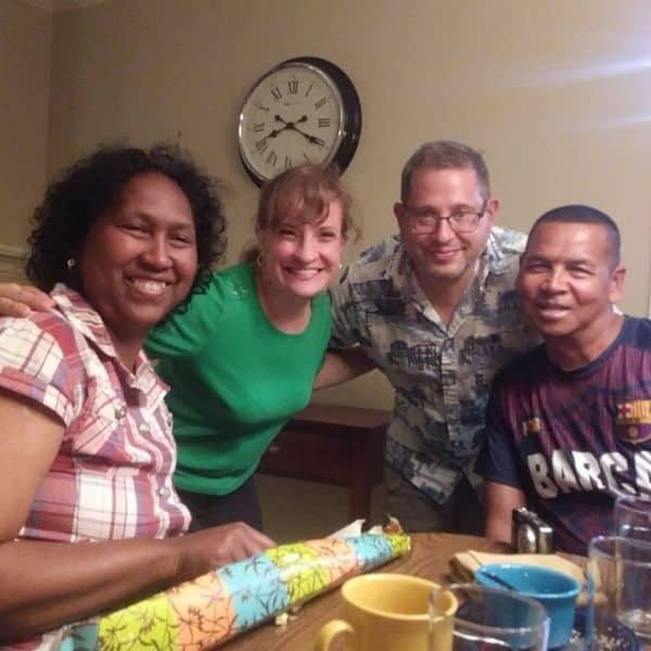 International friends meet for dinner