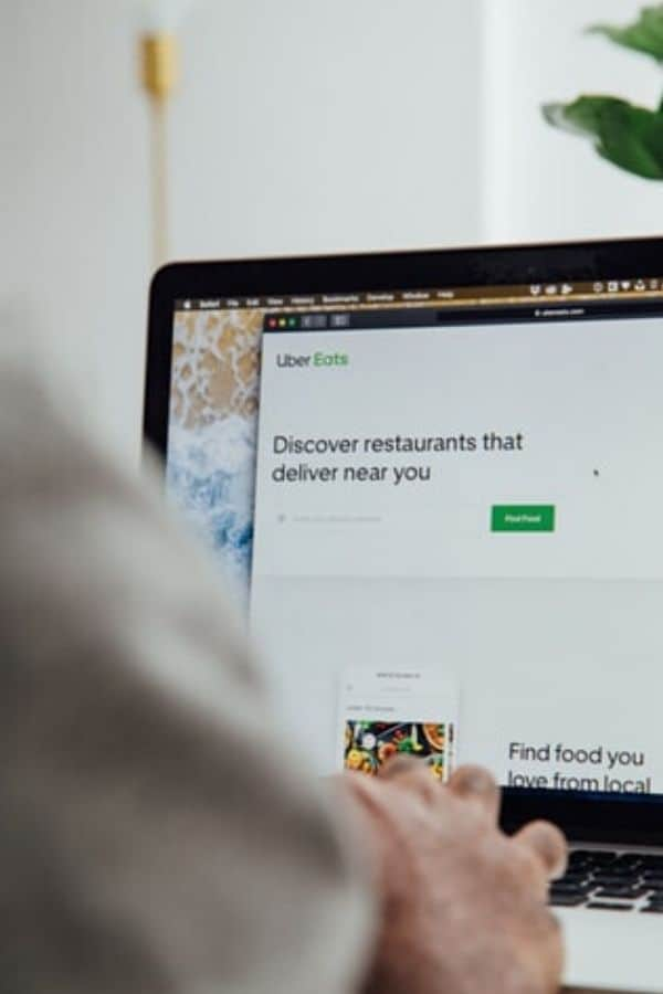 Woman orders meals online